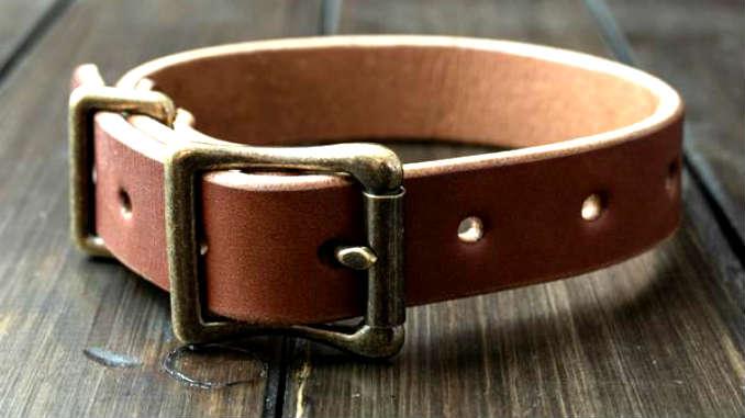 Кожаный ошейник для собаки фото
